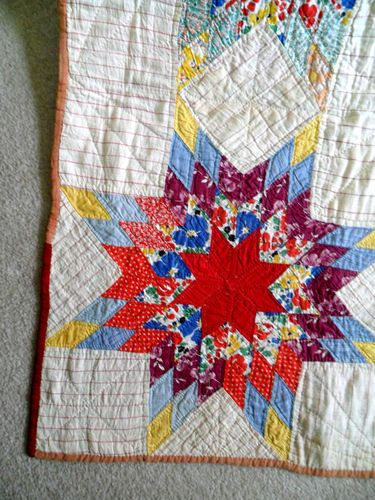 Vintage Antique Handmade Quilt 30's Radiant Star Quilt Feedsack Depression Era | eBay