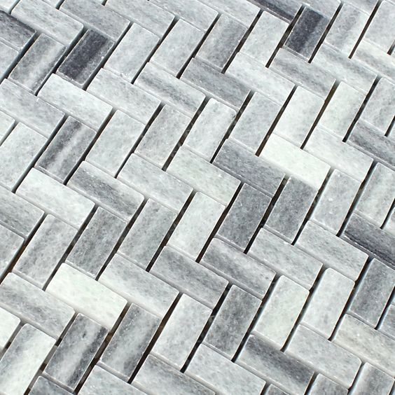 Naturstein Marmor Mosaik Grau Weiss Poliert