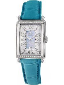 Gevril Women's 7247NT.3A Blue Mother-of-Pearl Genuine Alligator Strap Watch