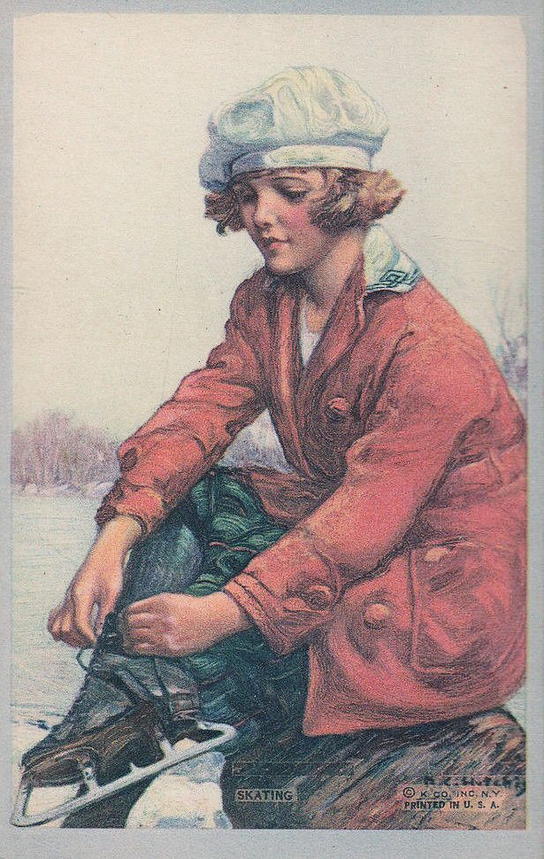 Woman Tying Her Skate early 20th century American