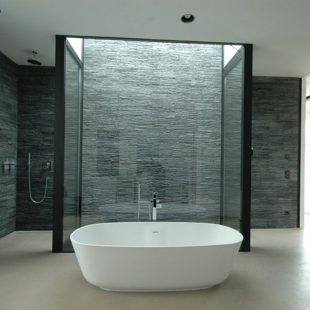 free standing tub in front of shower Slate Walls \ Freestanding