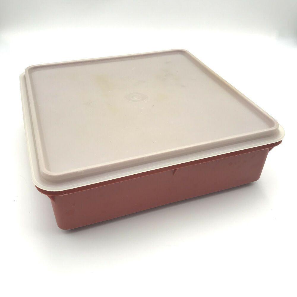 Vintage Tupperware Snack N Stor Paprika w Sheer Lid Square