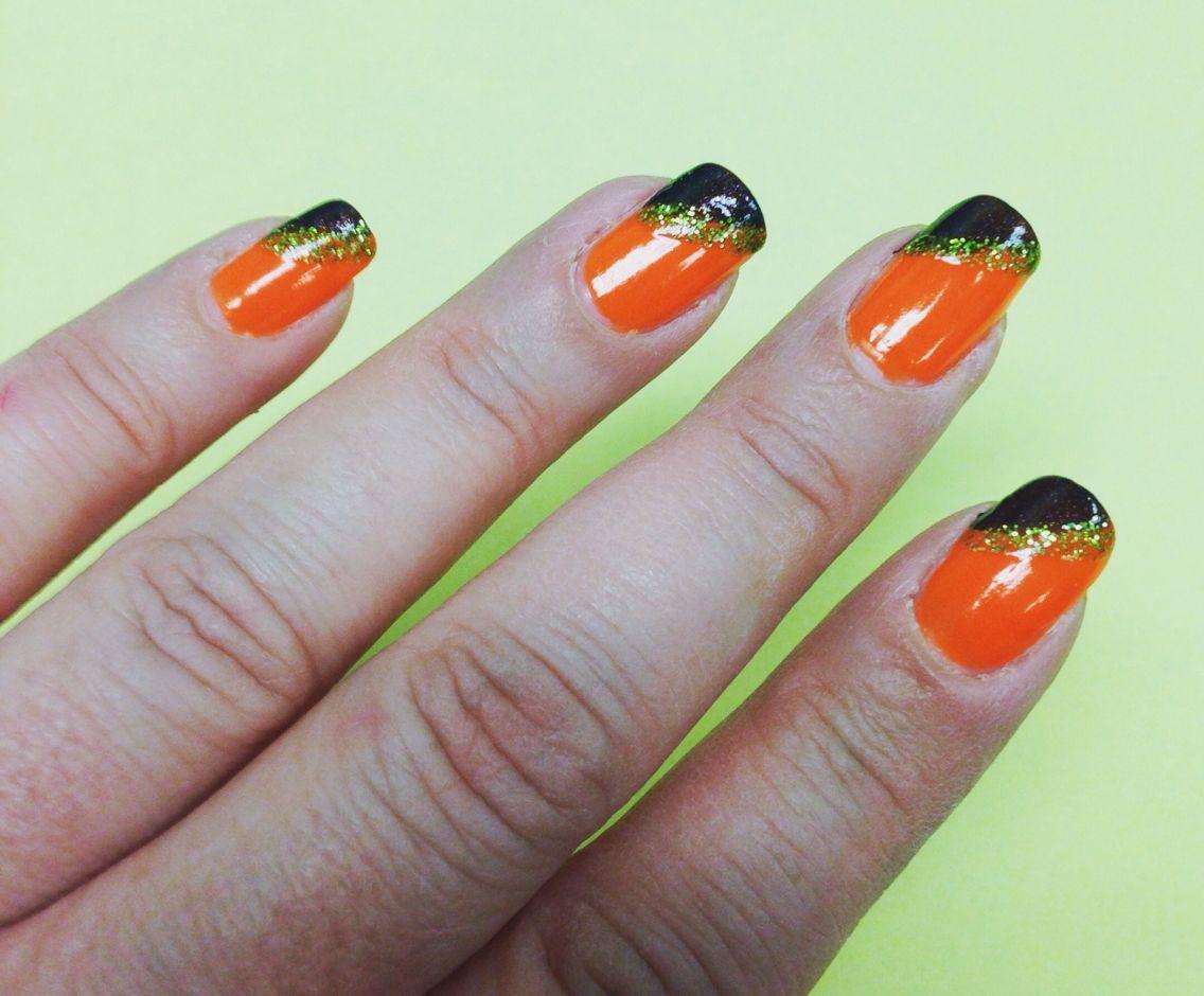 Halloween 2015. NEON orange, black glitter tips, lime