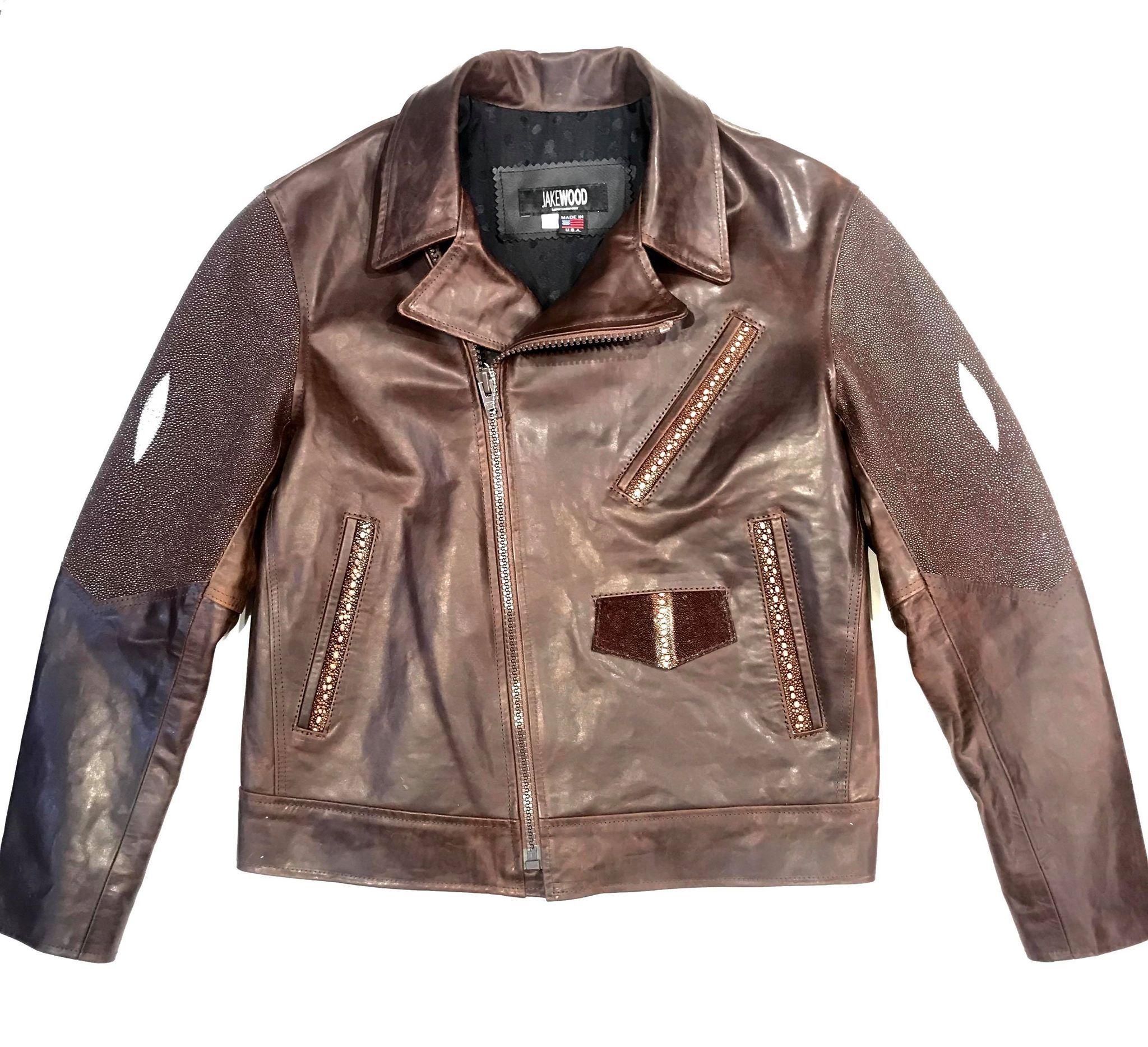Kashani Chocolate Brown Stingray Leather Biker Jacket In 2021 Biker Jacket Leather Biker Jacket Stingray [ 1868 x 2048 Pixel ]