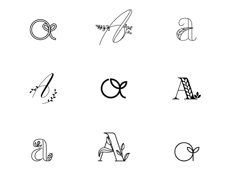 Aa Letter Icon Wedding Logos Lettering