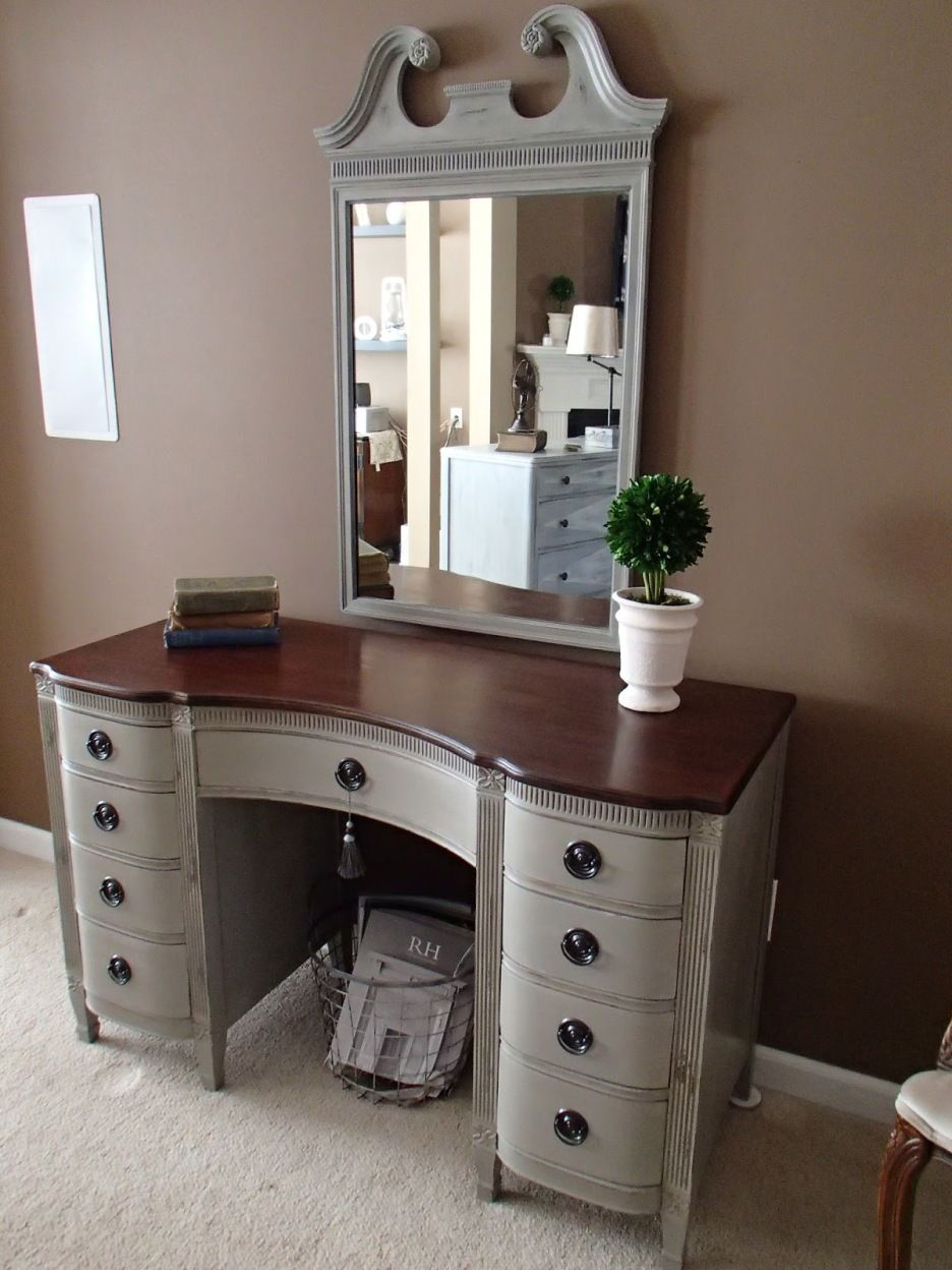 Bedroom. Gray Stained Wooden Vanity Dressing Table With