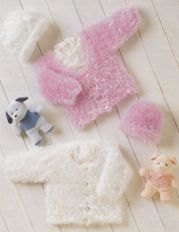 Baby knitting pattern lovely eyelash yarn cardigans and hats l in ...