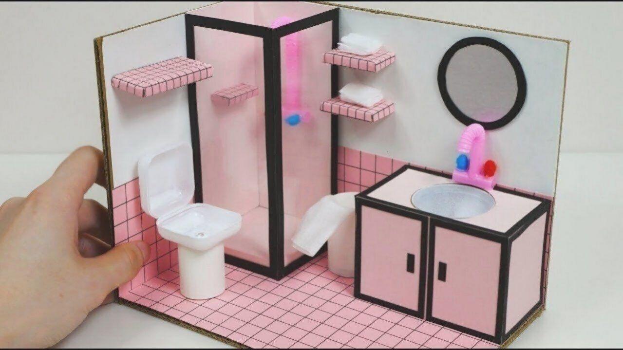 Diy Miniatur Puppenhaus Fur Barbie Wie Ein Rosa Badezimmer Youtube 2020 Elisi Fikirleri Pembe Banyo Barbie Furniture