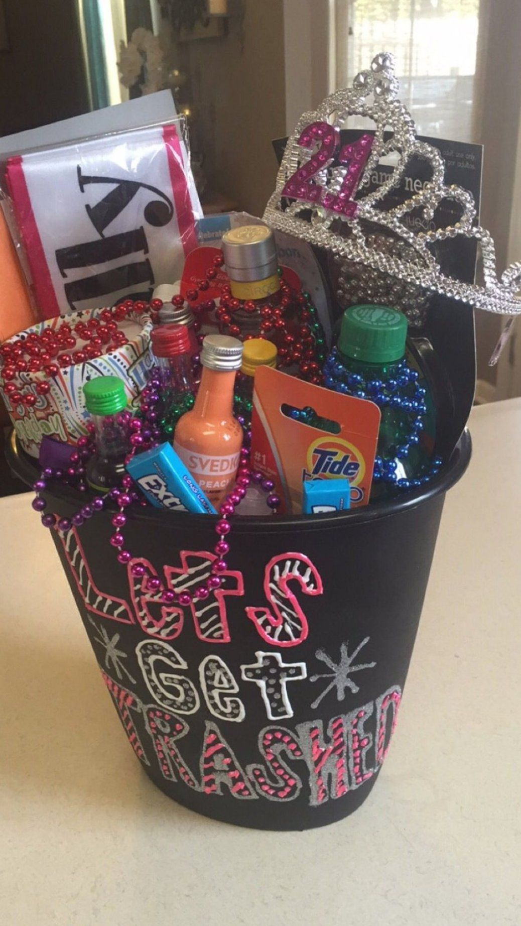 21st birthday gift in a trash can saying let s get unique