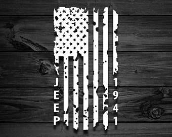 distressed vertical american flag jeep decal vinyl decal car