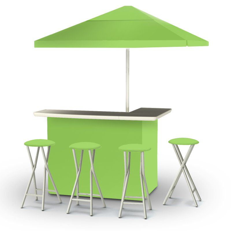 Outdoor Best Of Times Deluxe Package Solid Patio Bar And Tailgating Center With 4 Stools