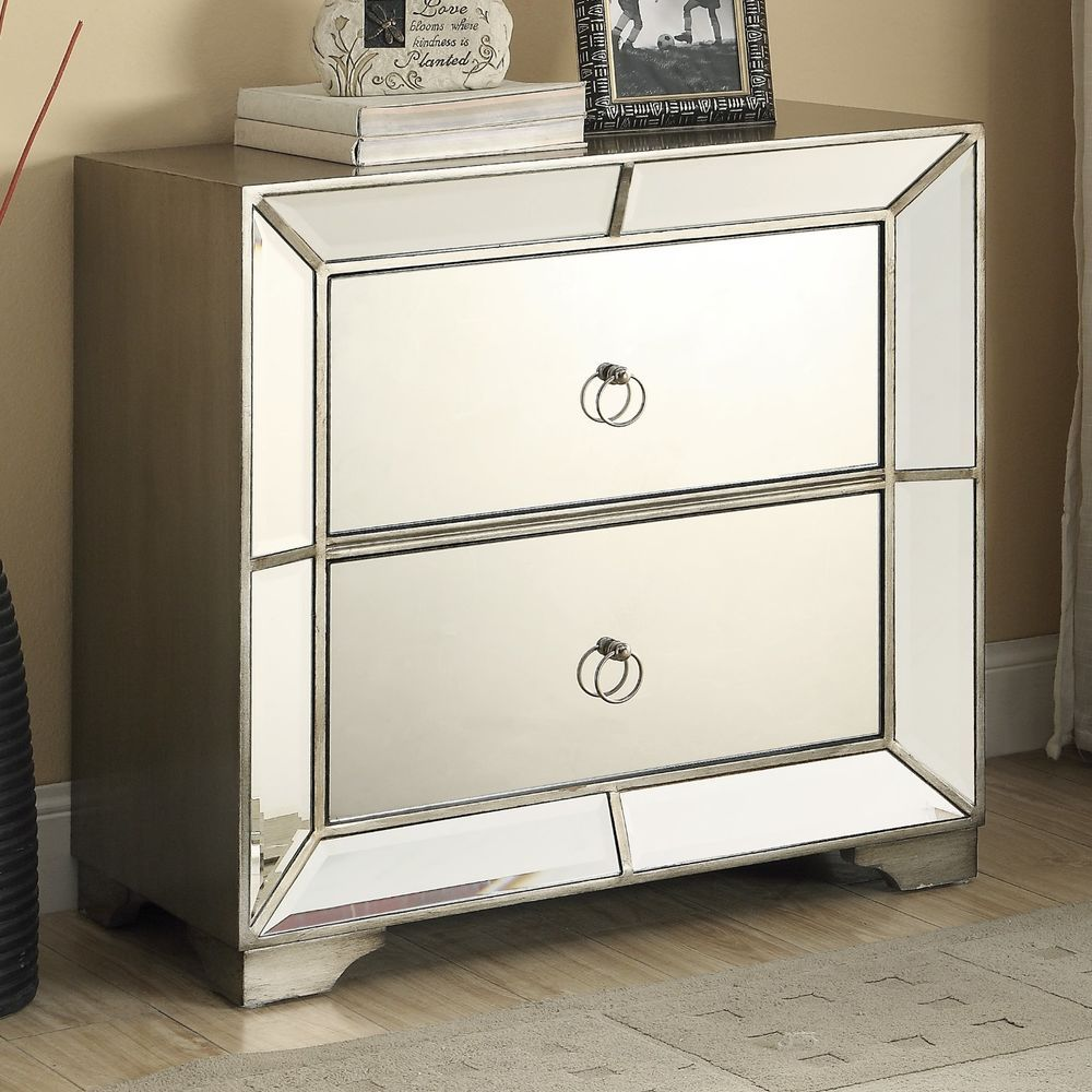 Set 2 Glam Mirrored Furniture Bedroom Chest Nightstands Hollywood Regency Tables Ay Hollywoodregency