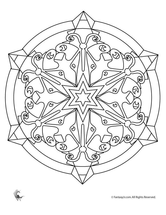 Butterfly Kaleidoscope Coloring Page Mandala Coloring Pages Snowflake Coloring Pages Mandala Coloring