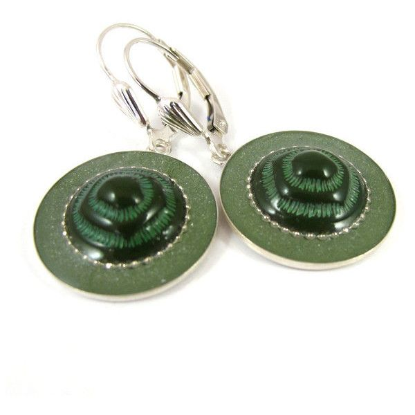Green earrings, silver leverback earrings, sterling silver round... (175 ILS) ❤ liked on Polyvore featuring jewelry, earrings, vintage silver jewelry, vintage silver earrings, sterling silver earrings, round earrings and vintage jewelry