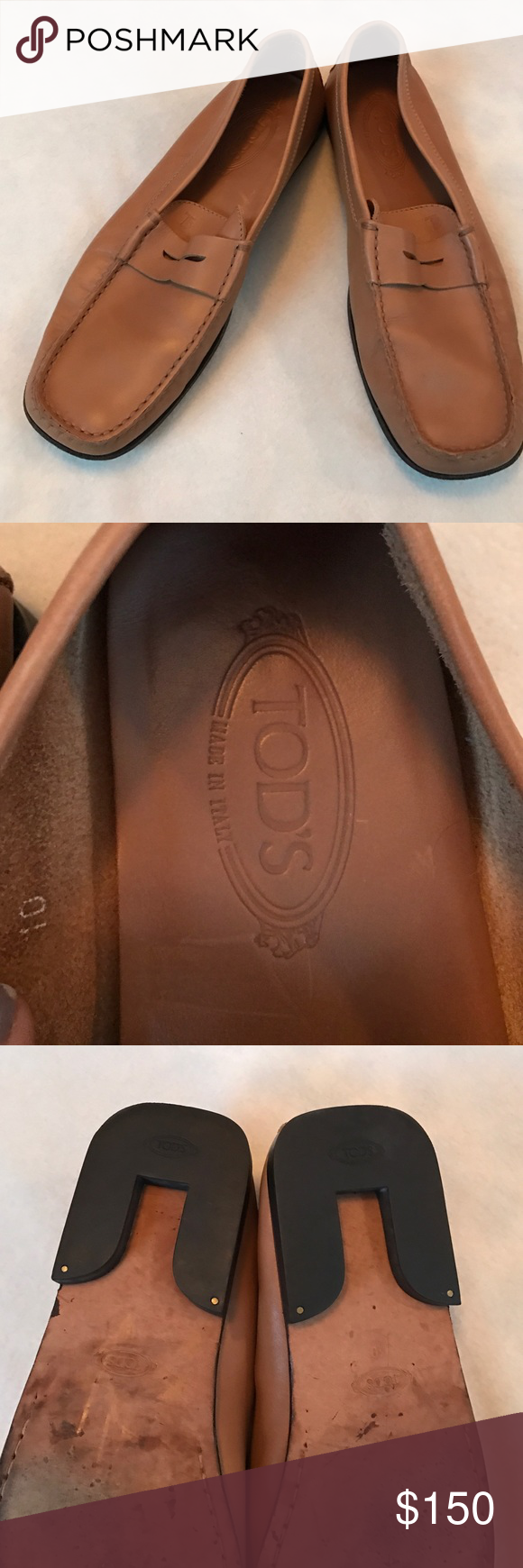 Tod's Leather Penny Loafer Includes Tod's monogram hot stamped on top. Leather caramel Tan penny loafer. Soles in excellent condition not wore down as shown in picture. Super soft Italian leather, made in Italy Tod's Shoes Loafers & Slip-Ons