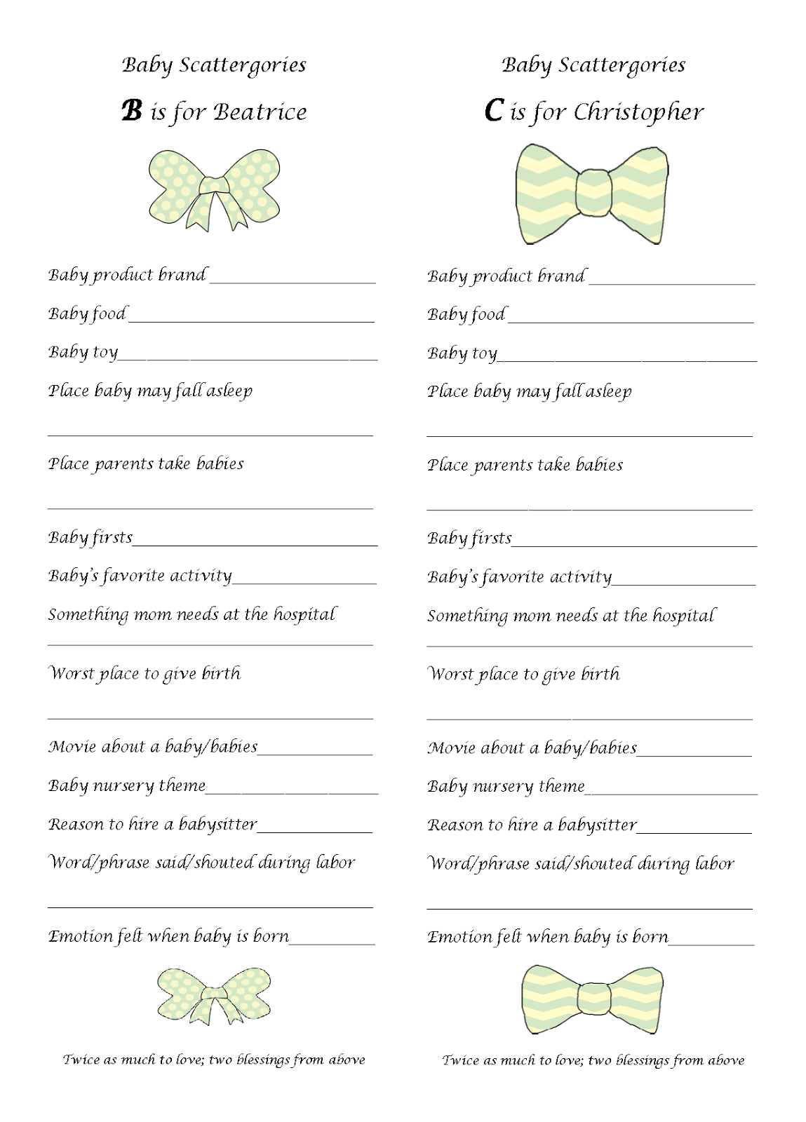 Worksheets Baby Shower Games Printable Worksheets bows bow ties shower the games baby babyshower scattergories game free printable babyshower