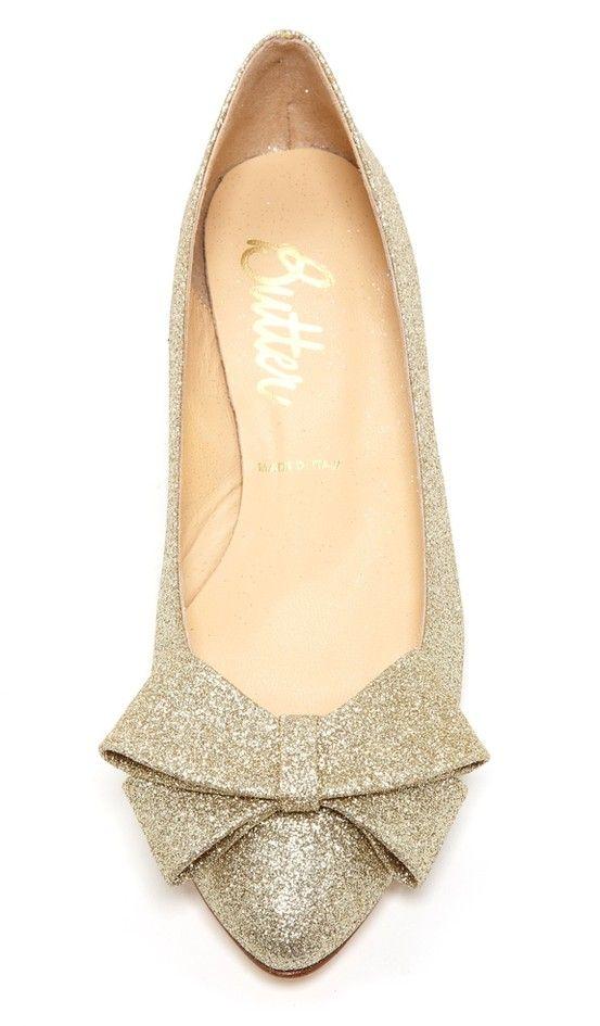 Glitter bow flats. Glitter bow flats Gold Ballet Flats fc8330c9b8cc