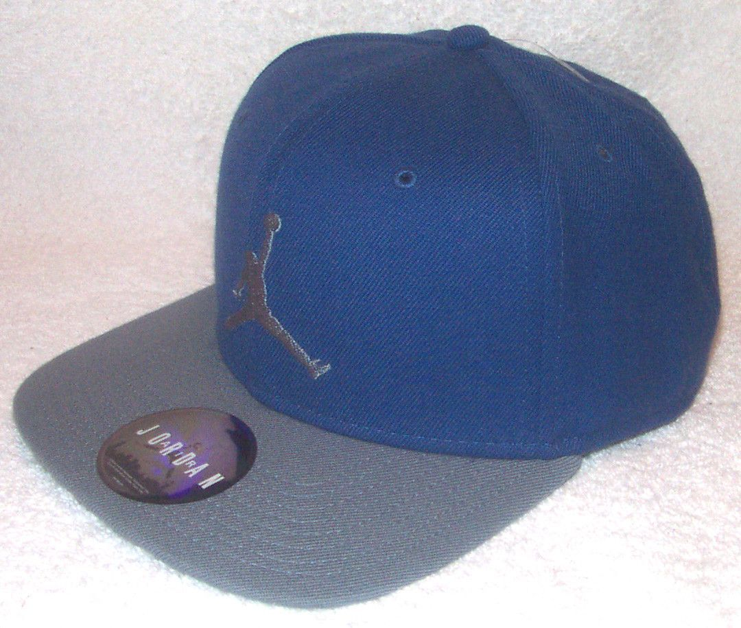 53641586a0b NIKE Air Jordan Jumpman Mens Blue Gray Retro Snapback Hat