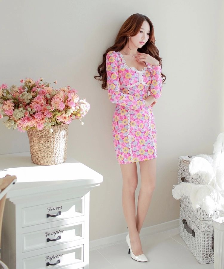 Pink Floral Long Sleeve Hem Designer Dress - Morpheus Boutique