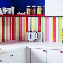 White Kitchen cabinets with rainbow colors backsplash Kitchen