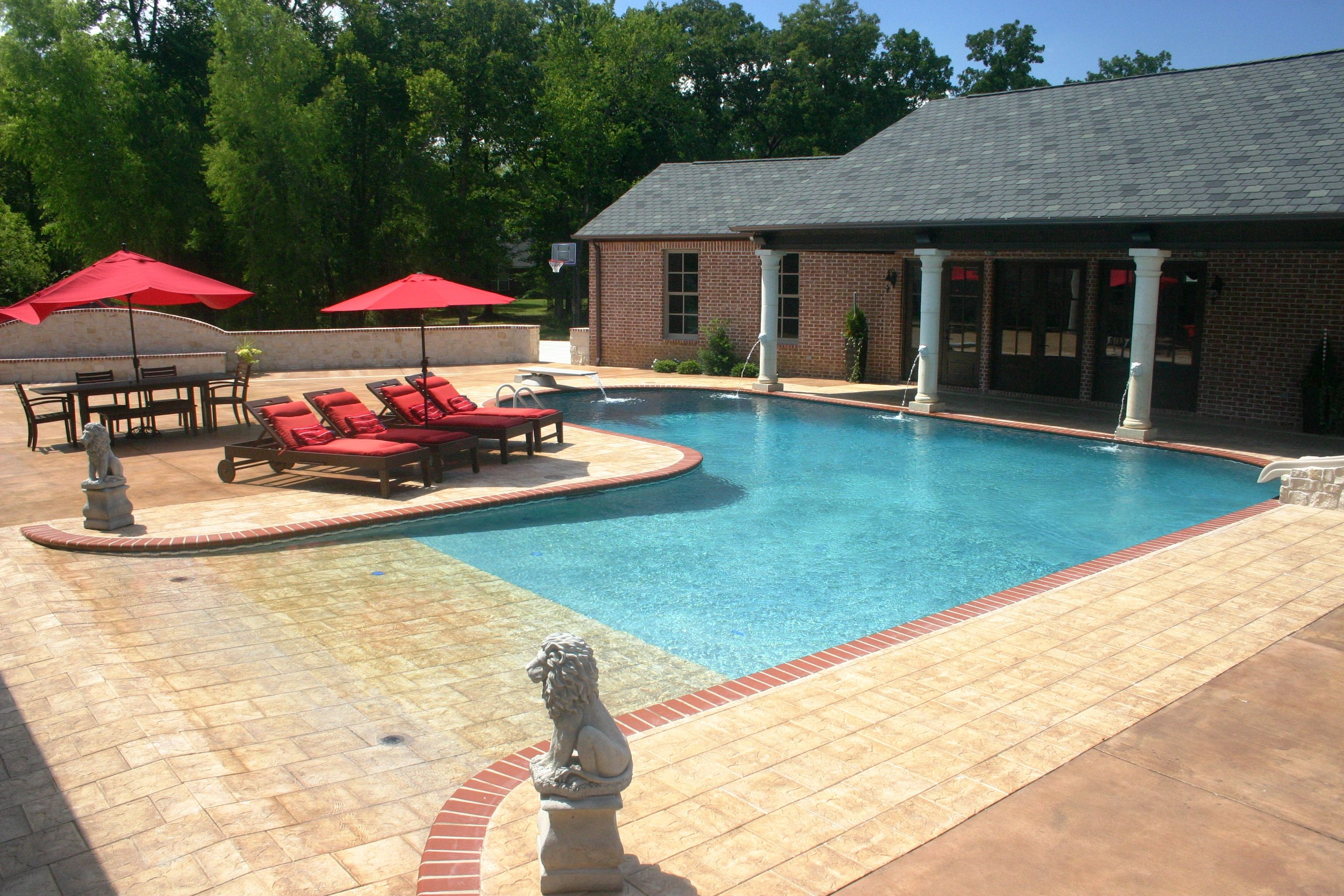 Fibergl Pool Beach Entry Custom Swimming Pool Spa Builders ...
