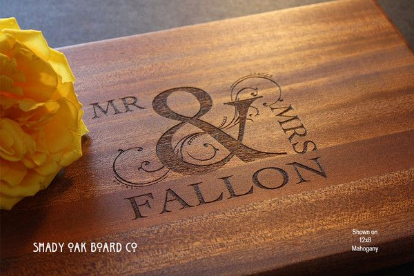 Personalized Ornate Mr. and Mrs. Ampersand Cutting Board