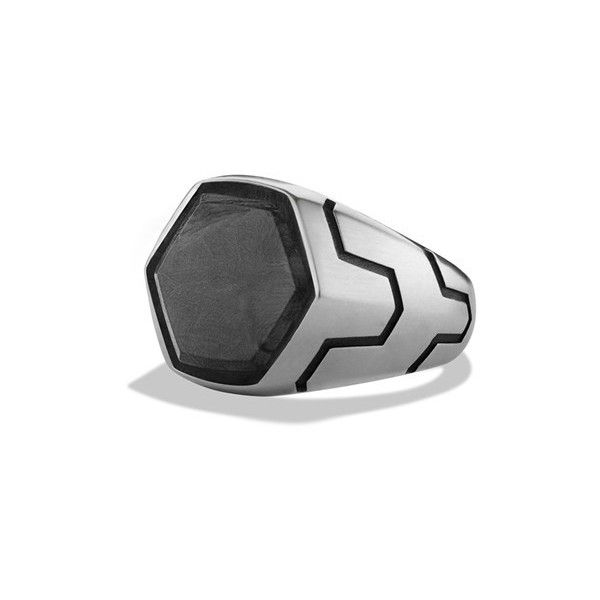 David Yurman 'Forged Carbon' Signet Ring (35,090 MXN) ❤ liked on Polyvore featuring men's fashion, men's jewelry, men's rings, forged carbon, mens signet ring and david yurman mens rings