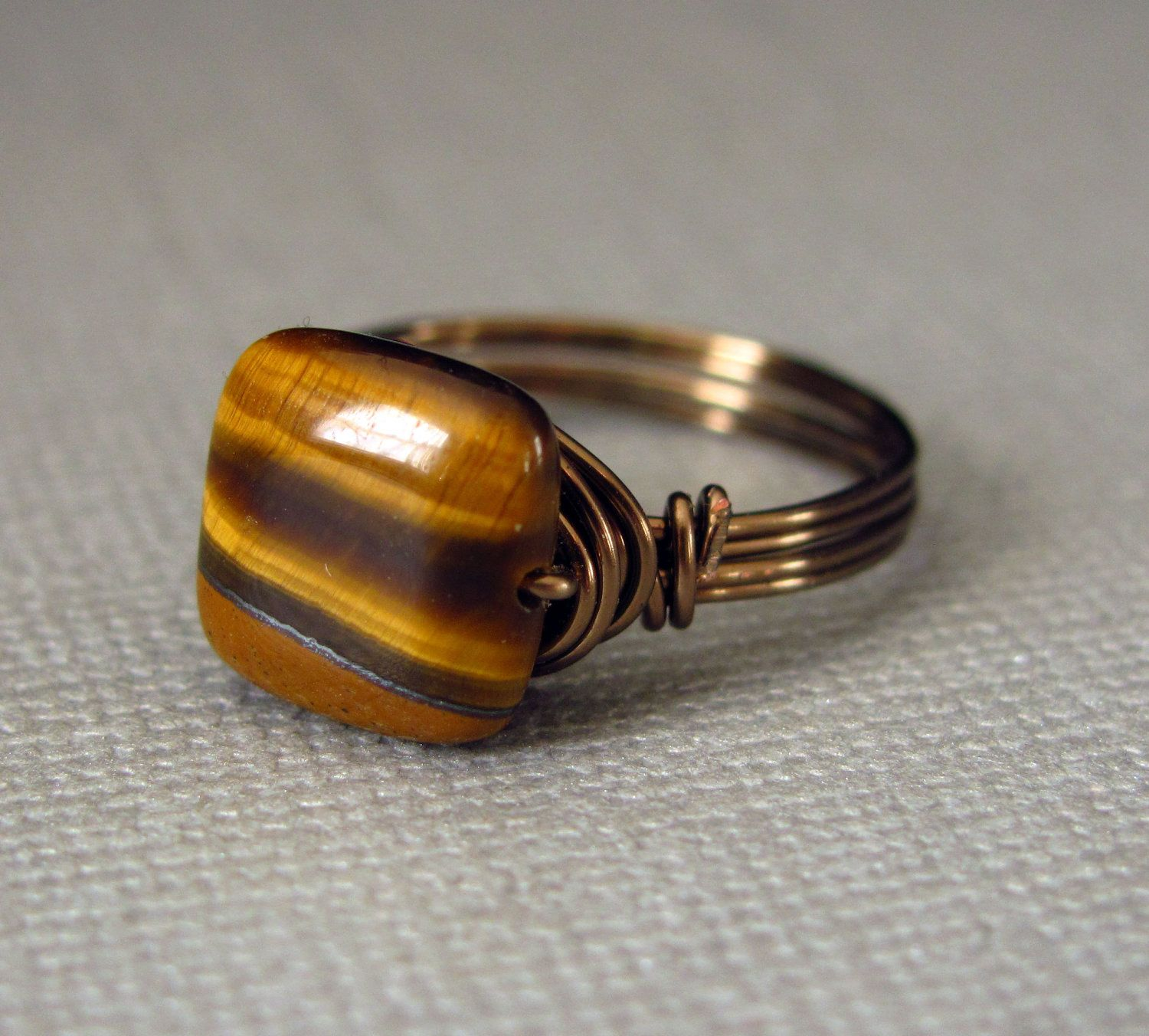 Wire Wrapped Ring Tiger Eye Ring Brass Ring Gemstone Ring Wire