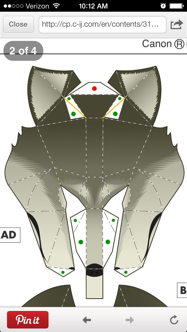 Wolf Mask Template Large