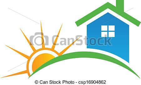 Clip Art Vector Of Style House With Sun Logo Style House With Sun Csp16904862 Search Clipart Illustration Drawings And Sun Logo Vector Logo Sun Clip Art