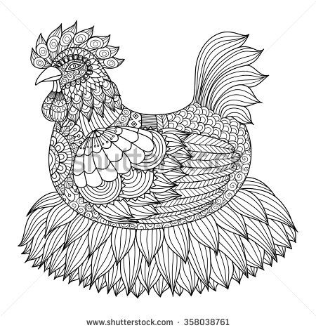 Chicken Adult Coloring Page