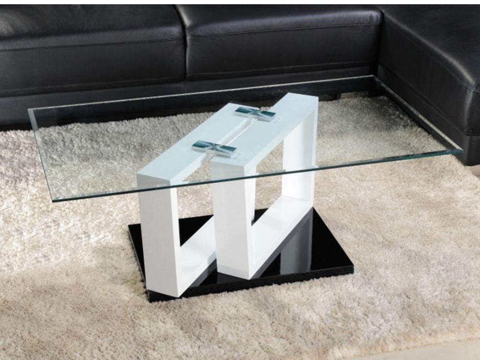 Table Basse Maellys Ii Verre Trempe Et Mdf Laque Blanc Et Noir Coffee Table Design Modern Wood Side Table Diy Modern Glass Coffee Table