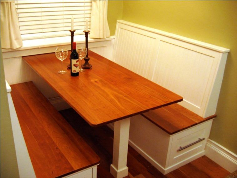 Breakfast Booth Table Using White Wooden Storage Drawer
