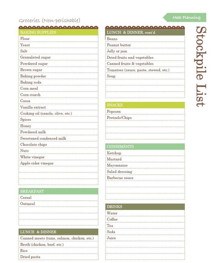 What to Stockpile - A Printable List Household notebook, Household