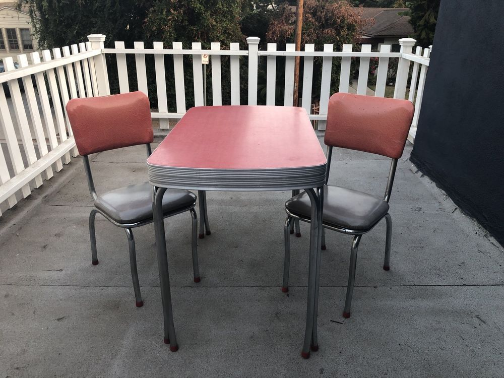 Vintage 1950 S Mid Century Red Kitchen Table Diner Set 2 Chairs