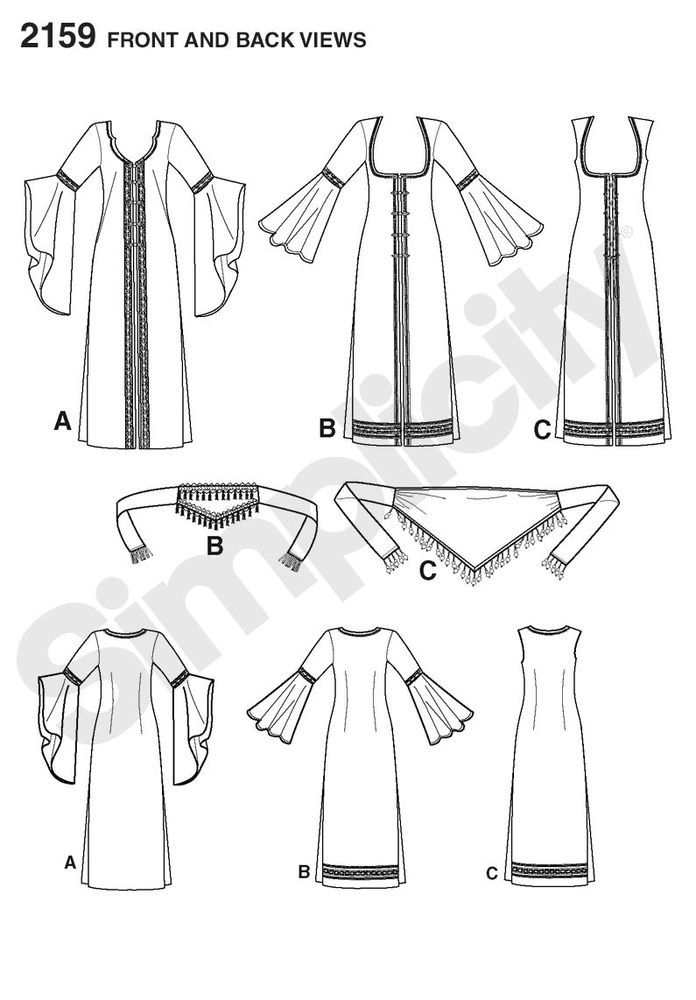 misses\' belly dancer ghawazee coats and belts costume sewing pattern ...