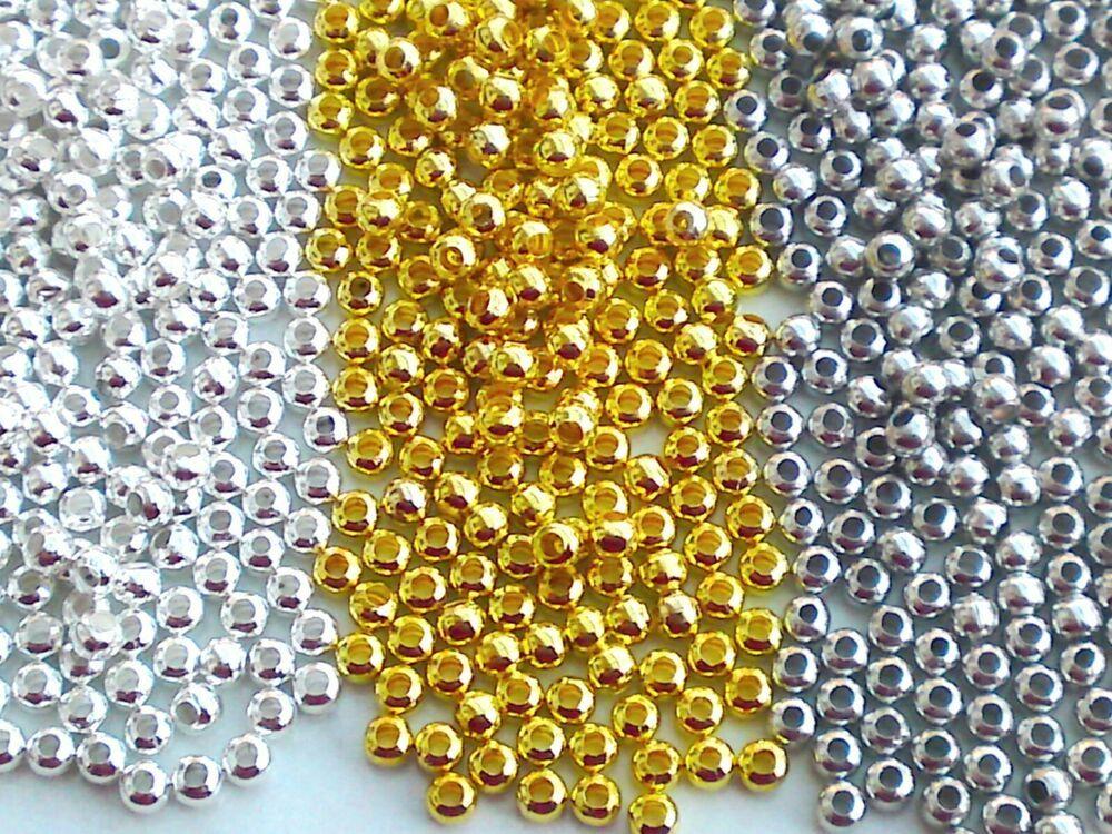 100 Glaswachsperlen Perlen silber rund Glasperlen 4mm
