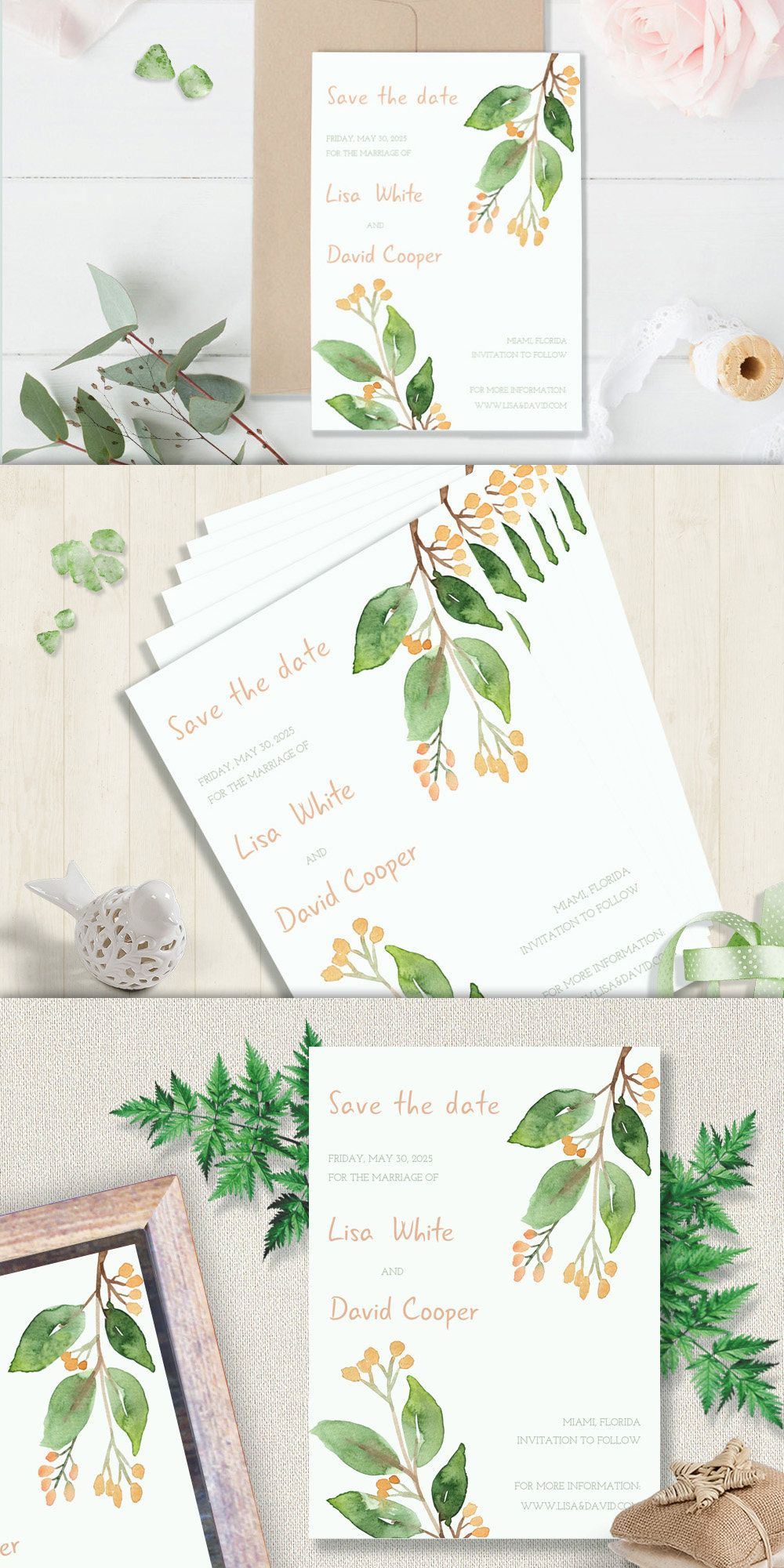 Printable save the date watercolor save the date