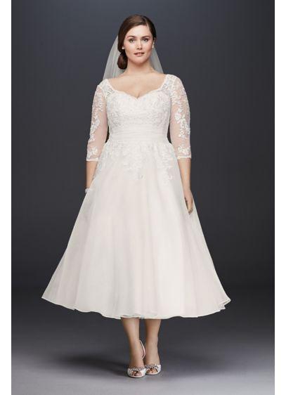 9fa58248df3 Tulle Plus Size Tea-Length Wedding Dress 9WG3857