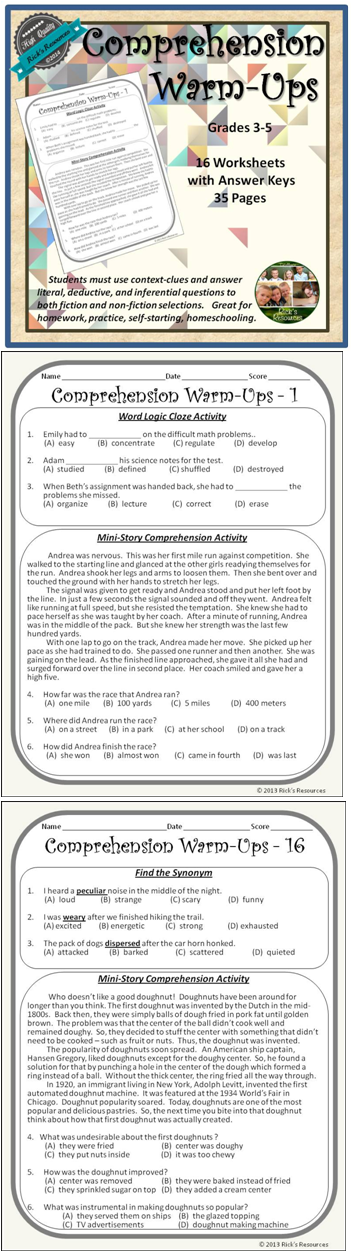 Reading Comprehension Weekly Warm Ups Print And Digital Versions Reading Comprehension Comprehension Activities Reading Lessons