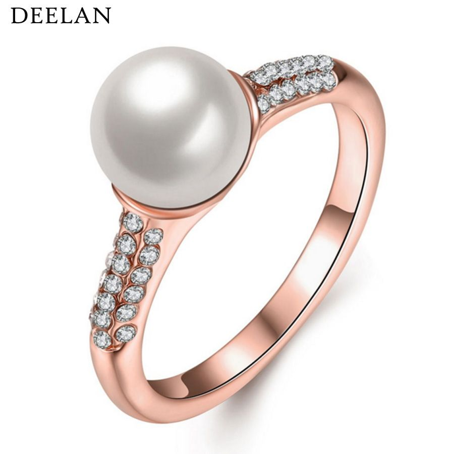 Fashion Simulated Pearl Finger Rings Women Rose Gold Color Tiny ...