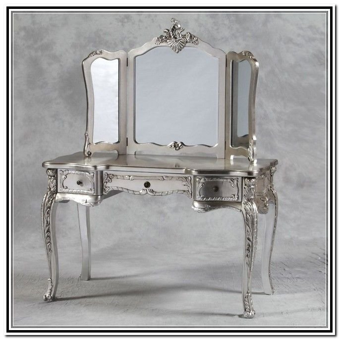 Silver vanity table easy in small home remodel ideas with for Silver vanity table