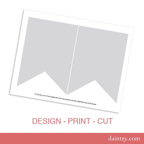 Instant Download Party Printable Template - DIY Banner Flag Design
