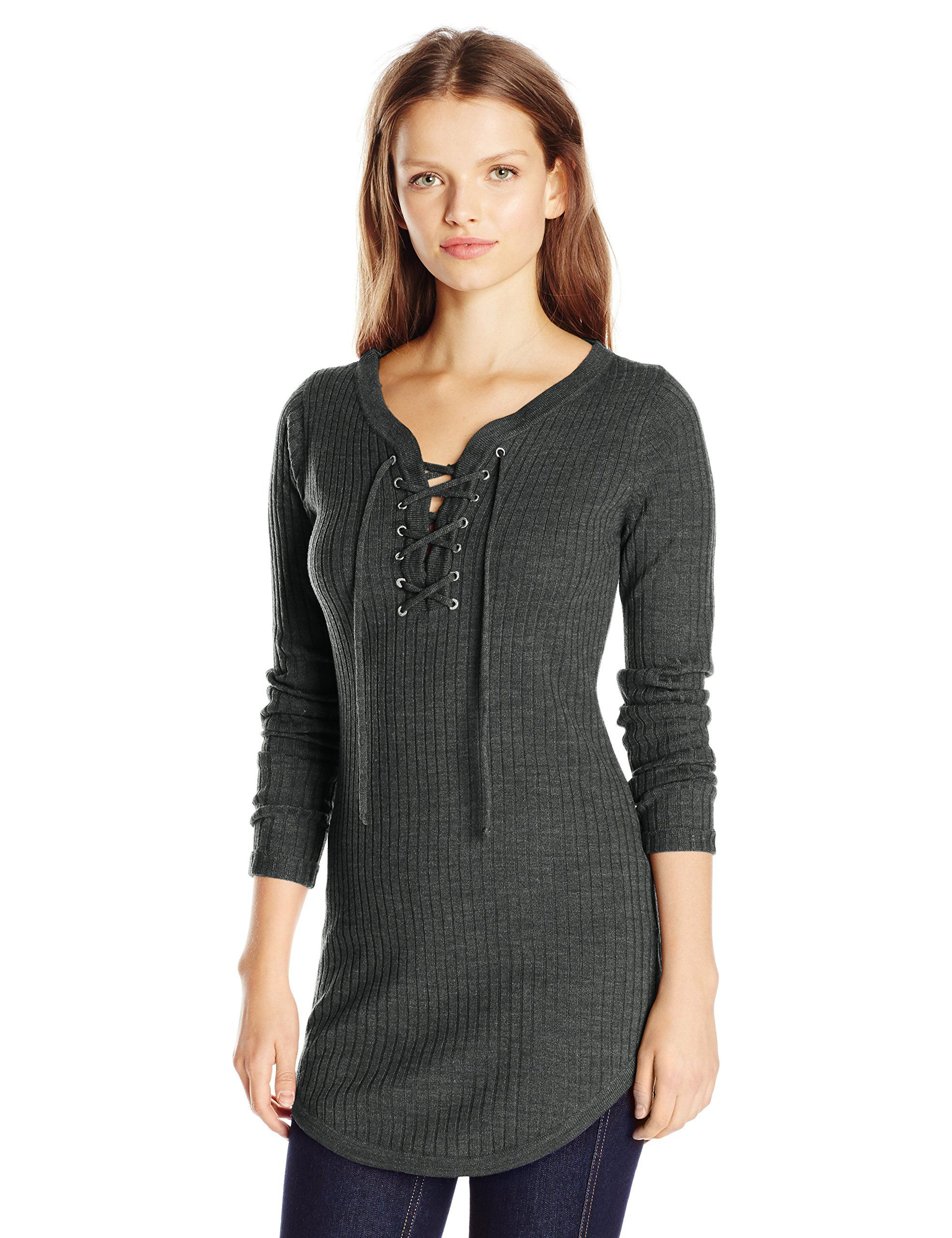 Derek Heart Juniors Rib Tunic Sweater Dress with Lace up Neck ...