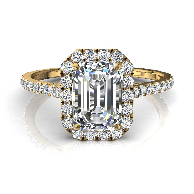49660920db9 Bague solitaire diamant or jaune Camogli-émeraude 1.50 carat ...