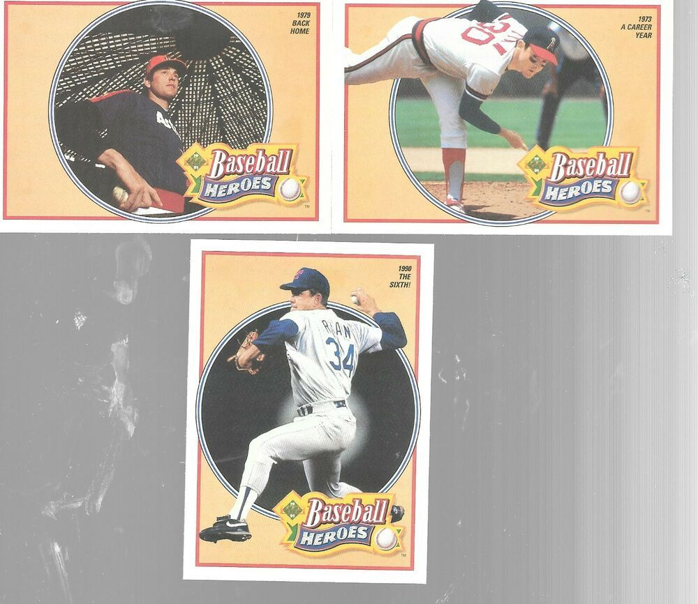 1991 upper deck nolan ryan baseball heroes lot of 3