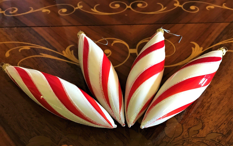Holiday Decor Four Vintage Candy Striped Christmas Ornaments Holiday Ornaments Candy Cane Striped Christmas Bulbs