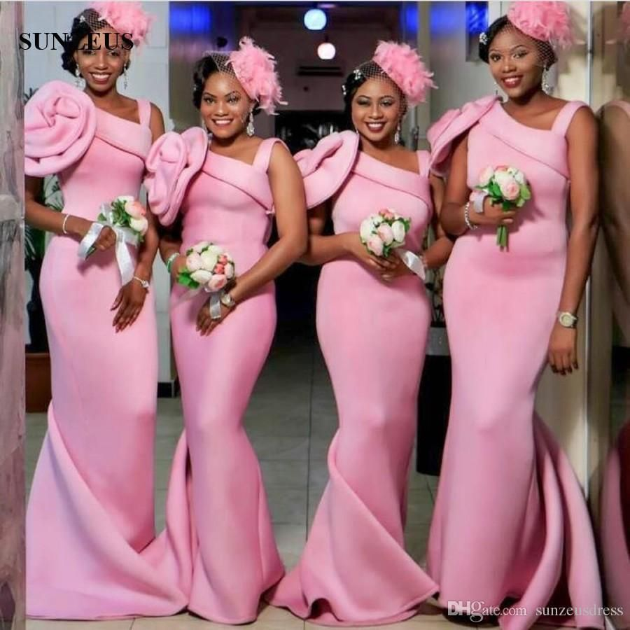 Black Women Long Pink Bridesmaid Dress Mermaid Style Sleeveless