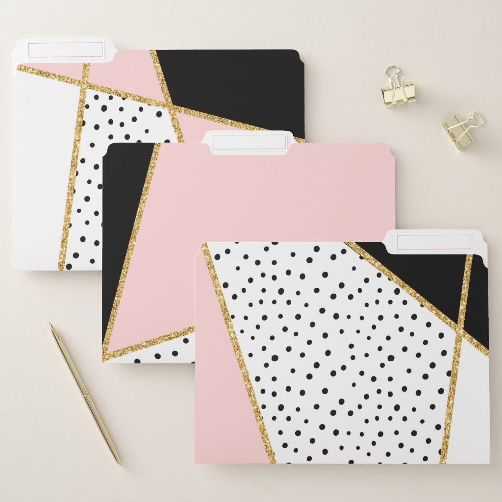 Pink And Black Chic Abstract Pattern Set File Folder
