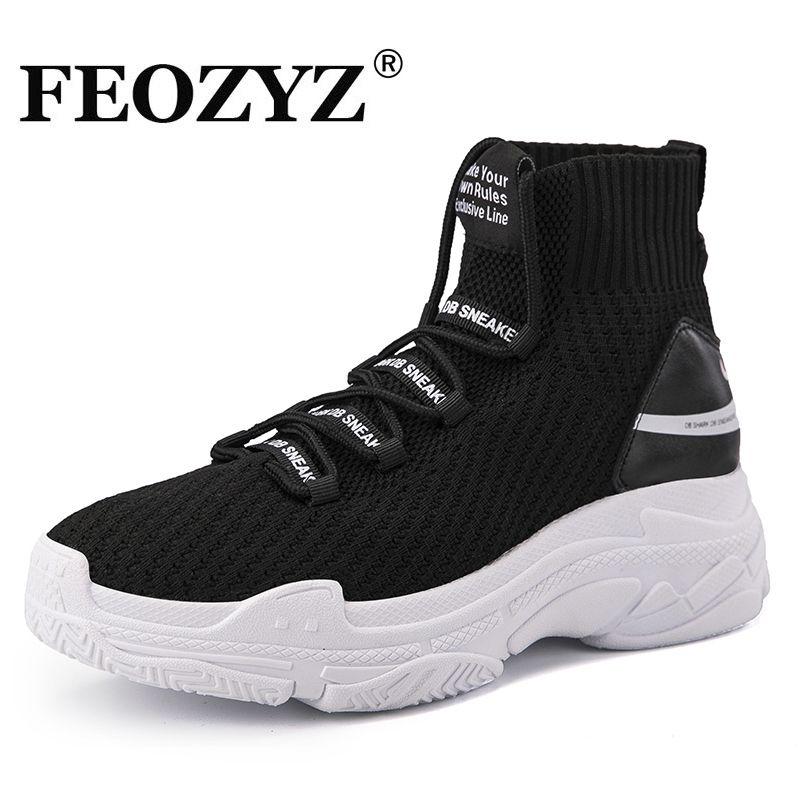 97063ba1 Купить товар FEOZYZ акулы кроссовки Для женщин Для мужчин вязать дышащая  Спортивная обувь коренастый обувь высокие